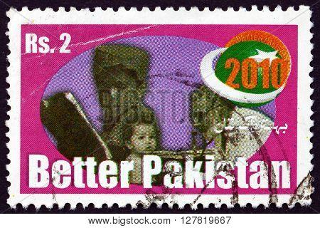 PAKISTAN - CIRCA 1998: a stamp printed in Pakistan dedicated to Better Pakistan Health Care circa 1998