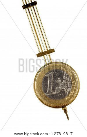 Brass pendulum. One euro coin on fluctuating graph.