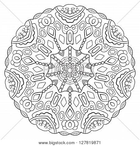 Black and white symmetrical circular pattern mandala. Oriental pattern. Coloring page for adults. Turkish, Islamic, Oriental ornament