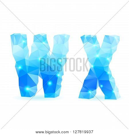 Shiny blue polygonal font. Crystal style W and X letters