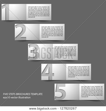Vector paper progress brochures in five steps. Template with place for description on right side