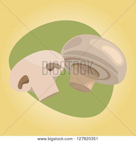 Champignon colorful icon. Fresh champignon mushroom vector illustration