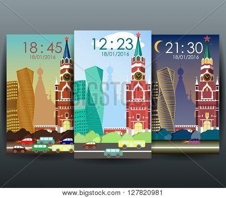 Stock vector mobile interface wallpaper design with cityscape vector. Moscow.