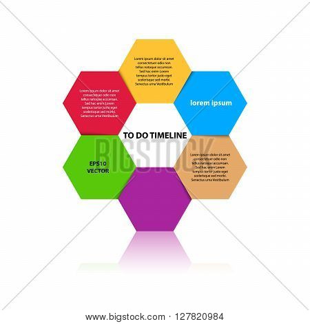 Six steps timeline objects. Hexagon shape with reflection below. Place for text inside shape. Vector illustration.