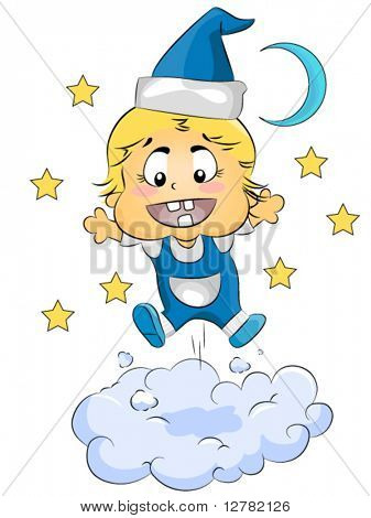 Baby Bouncing On Cloud - Vector