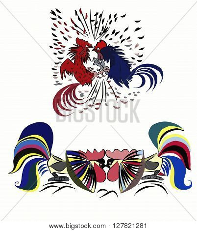 Cock fighting colorful roosters fight vector illustration