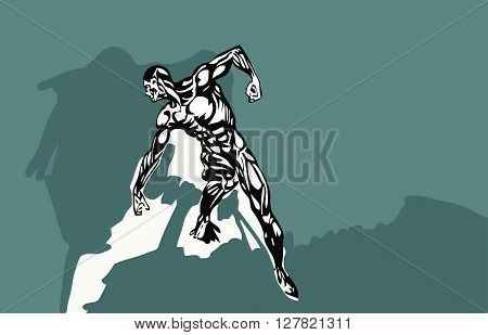 vector illustration athletic man with a naked torso