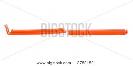 Red big Plastic package peg pin clamp isolated over the white background
