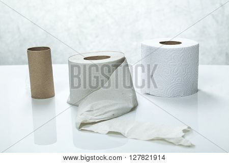 toilet paper from recycled materials in a roll