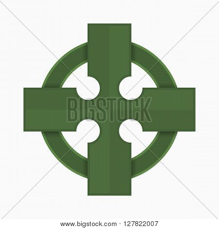 Green Celtic cross vector illustration, traditional symbol