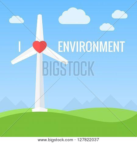 Wind turbines. Conceptual love environment design vector illustration