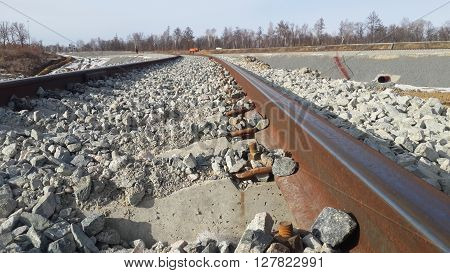 The railroad consists of sleepers and rails, roadway