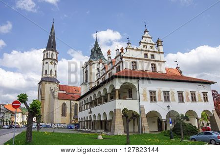 Levoca, Slovakia - May 10, 2013: Old town hall and St. Jacob's Church in the main square of UNESCO listed medieval town of Levoca in eastern Slovakia.