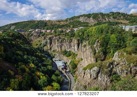 View Of Mountain And Spa  City Jermuk And Canyon Of Arpa River. Armenia
