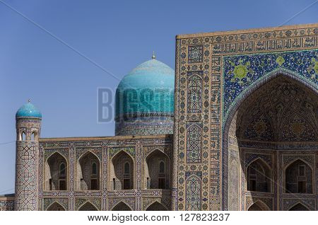 Details Of Facade Mosaic Of Madrasah Tilla-kari On Registan Square, Samarkand, Uzbekistan