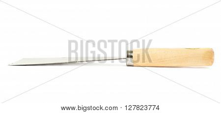 Putty kniFe with wooden handle over isolated white background