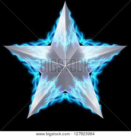 Silver five-pointed star surrounded by blue fire on black background.