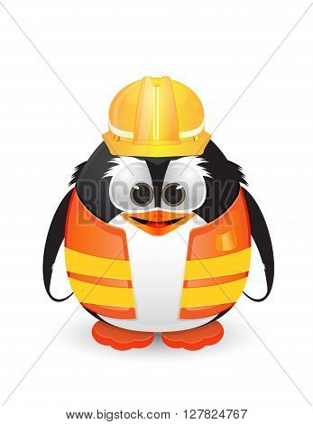 penguin character using construction and worker helmet
