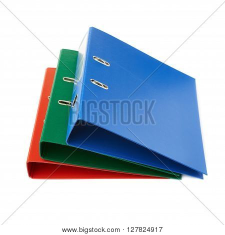 Pile of different  Office folders isolated over the white background