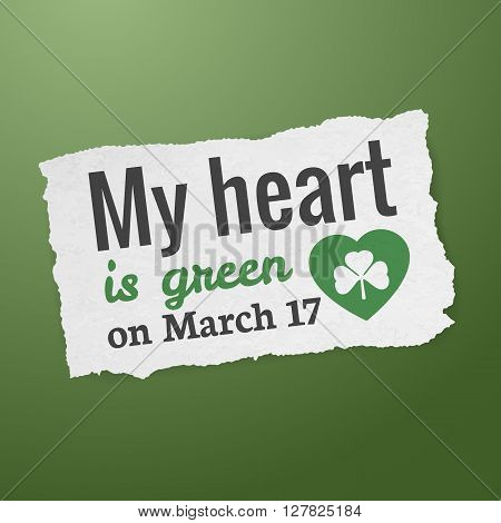 Saint Patrick's day - typographic design tag vector illustration