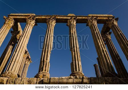 view of the temple of diane in Evora unesco heritage site. portugal ** Note: Visible grain at 100%, best at smaller sizes