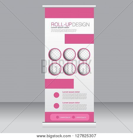 Roll Up Banner Stand Template. Abstract Background For Design,  Business, Education, Advertisement.