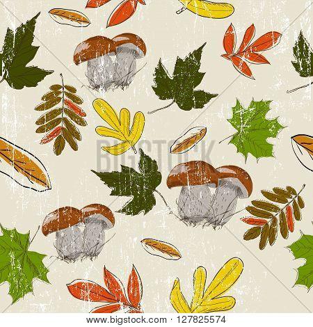 Seamless texture with autumn nature. Vector illustration EPS8
