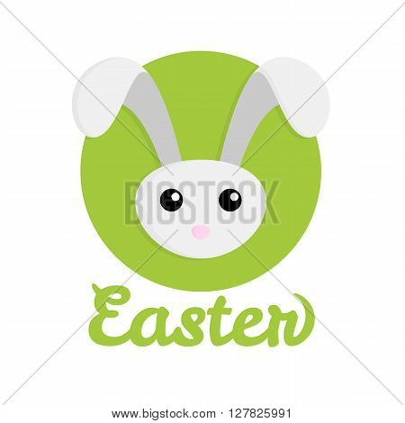 Easter Rabbit icon on green background vector illustration