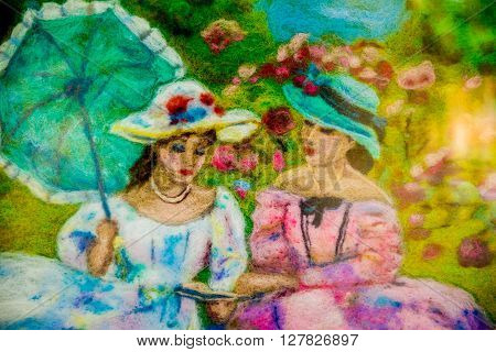 felting wool - contemporary art - handmade. Picture. Picture - two women talking in the park of the Middle Ages