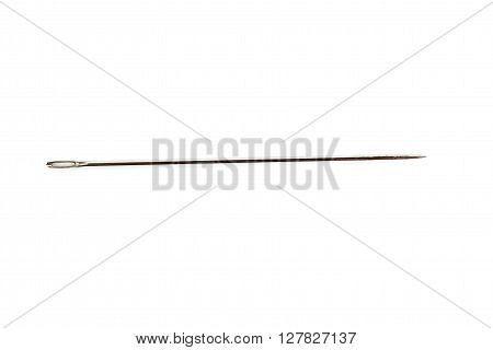 Small metal needle with red head isolated over the white background