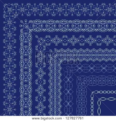 Vector ornate borders with outside corners in Eastern style. Frames for invitations birthday and greeting cards certificate. The brush included in the file stock vector