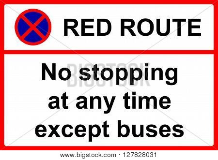No stopping during period indicated except for buses sign