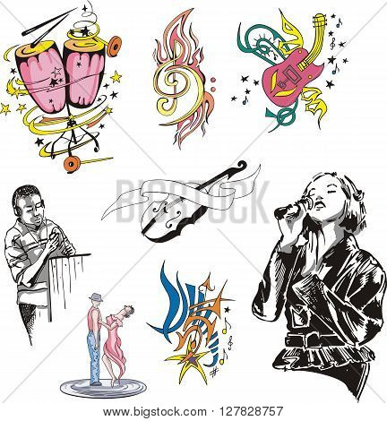 Stylized music instruments and musicians. Set of vector illustrations.
