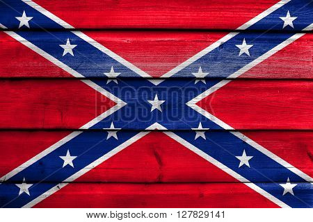 Confederate Flag, Painted On Old Wood Plank Background