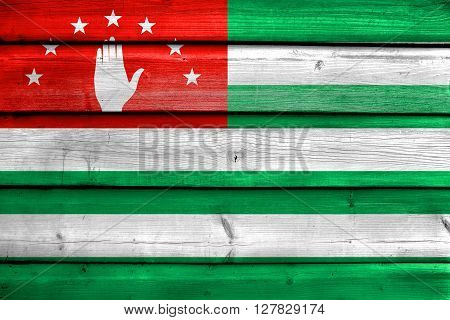 Flag Of Abkhazia, Painted On Old Wood Plank Background