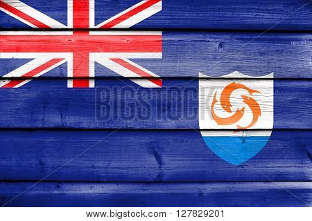 Flag Of Anguilla, Painted On Old Wood Plank Background