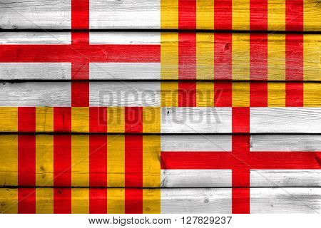 Flag Of Barcelona, Painted On Old Wood Plank Background