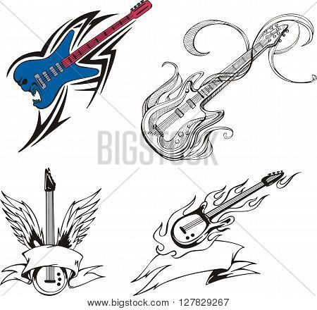 Set of musical guitars with flames and decorations. Vector illustrations.