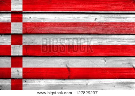 Flag Of Bremen, Painted On Old Wood Plank Background