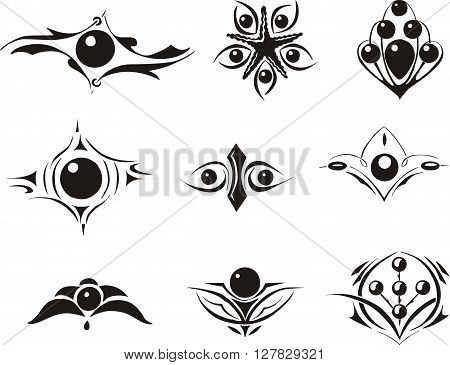 Set Of Symmetrical Floral Decorative Dingbats