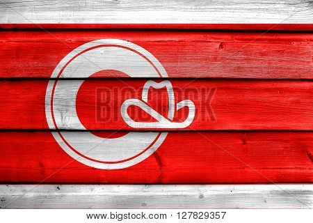 Flag Of Calgary, Painted On Old Wood Plank Background