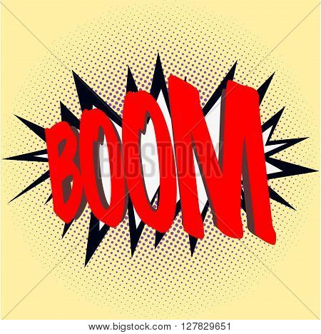 Boom sign, comics style boom sign on yellow background with dots in various sizes.