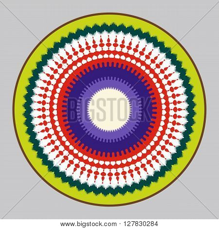 Abstract Sun and Earth interaction symbol. It depicts the sun, the sun's rays, ocean, fauna, air and flora. Colorful rounded mandala.