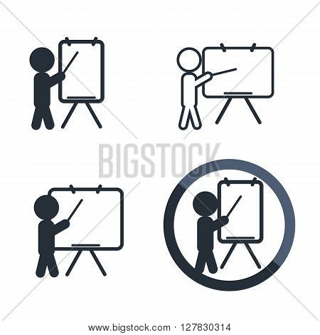Teaching flat icon set isolated on white. Training or demonstration symbol. Man standing with pointer next to school board.