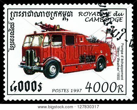 STAVROPOL RUSSIA - MARCH 30 2016: a stamp printed by Cambodia shows old car Merry Weather 1950 Fire truck circa 1997