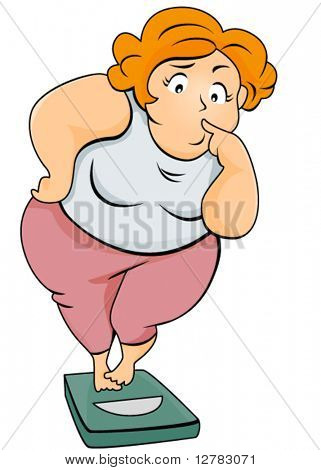 Plump Woman on Weighing Scale - Vector