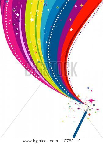 Wand Rainbow Design - Vector