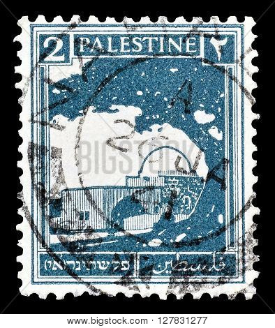 PALESTINE - CIRCA 1927 : Postage stamp printed by Palestine, that shows Rachel's Tomb.