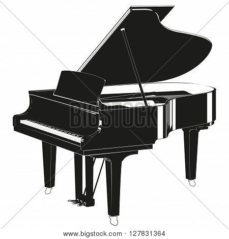 Silhouette piano on a white background. Vector illustration.