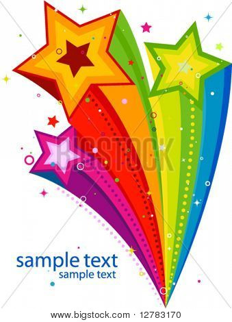 Abstract Rainbow Stars Design - Vector
